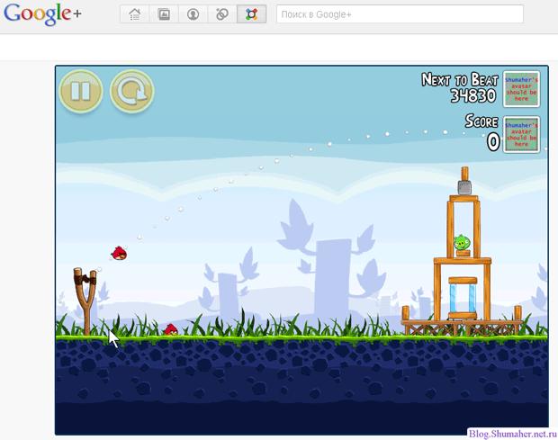 Angry Birds в Google+